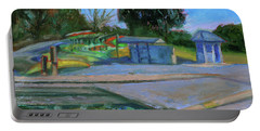 Portable Battery Charger featuring the painting Shore Line Lake Boathouse California Landscape 11 by Xueling Zou