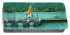 Portable Battery Charger featuring the painting Shoreline Lake Boathouse Mountain View California Landscape 16 by Xueling Zou
