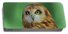 Short Eared Owl On Green Portable Battery Charger by Dan Sproul