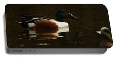 Portable Battery Charger featuring the photograph Shovel Tail And A Wigeon by Jeff Swan