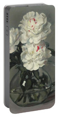 Showy White Peonies In Glass Pitcher Portable Battery Charger