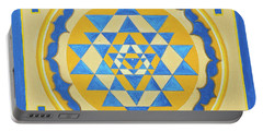 Portable Battery Charger featuring the photograph Shri Yantra For Meditation Painted by Raimond Klavins