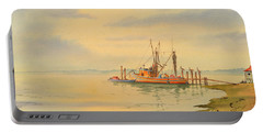 Shrimp Boat Sunset Portable Battery Charger by Bill Holkham