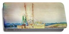 Portable Battery Charger featuring the photograph Shrimp Boat - The Brande Ray by Kerri Farley