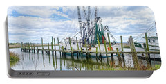 Shrimp Boats Of St. Helena Island Portable Battery Charger