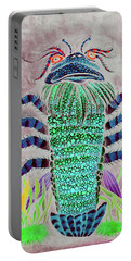 Portable Battery Charger featuring the painting Shrimper Invert by Adria Trail