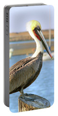 Shy Brown Pelican Portable Battery Charger by Haleh Mahbod