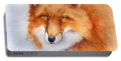 Portable Battery Charger featuring the painting Shy Fox by Bonnie Rinier