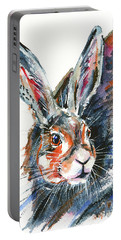 Portable Battery Charger featuring the painting Shy Hare by Zaira Dzhaubaeva