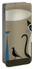 Siamese Cat With Eames House Bird Portable Battery Charger