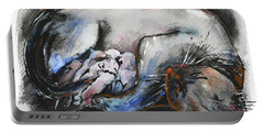 Portable Battery Charger featuring the painting Siamese Cat With Kittens by Zaira Dzhaubaeva