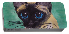Portable Battery Charger featuring the painting Siamese by Leslie Allen