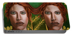 Siamese Twins 5 Portable Battery Charger by Leah Saulnier The Painting Maniac