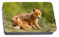 Sibbling Love - Playing Fox Cubs Portable Battery Charger by Roeselien Raimond