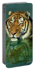 Siberian Tiger Reflection Wildlife Rescue Portable Battery Charger by Dave Welling