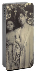 Sicilian Boy And Girl Before Floral Textile Portable Battery Charger