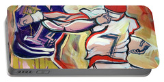 Portable Battery Charger featuring the painting Side Arm Uga by John Jr Gholson