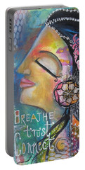 Side Face With Words Portable Battery Charger by Prerna Poojara