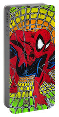 Portable Battery Charger featuring the drawing Spider-man Illustration Edition by Justin Moore