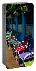 Sidewalk Cafe Portable Battery Charger by Kevin Fortier