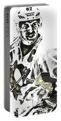 Sidney Crosby Pittsburgh Penguins Pixel Art 4 Portable Battery Charger by Joe Hamilton