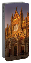 Portable Battery Charger featuring the photograph Siena Italy Cathedral Sunset by Joan Carroll