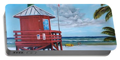 Siesta Key Red Lifeguard Shack Portable Battery Charger by Lloyd Dobson