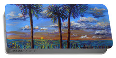 Portable Battery Charger featuring the painting Siesta Summer Sunset by Lou Ann Bagnall