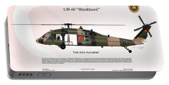 Portable Battery Charger featuring the digital art Sikorsky Uh-60 Blackhawk by Arthur Eggers