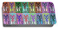 Silberzweig - Sugar Skulls And Owls - Bone Rainbow -  Portable Battery Charger by Sandra Silberzweig