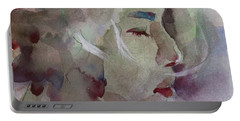 Portable Battery Charger featuring the painting Wcp 1701 Silence by Becky Kim