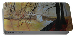 Portable Battery Charger featuring the painting Silence by Leslie Allen