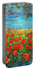 Portable Battery Charger featuring the painting  Silence by Teresa Wegrzyn