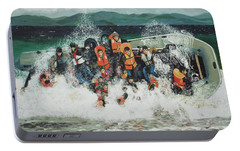 Portable Battery Charger featuring the painting Silent Screams by Eric Kempson
