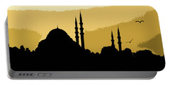 Silhouette Of Mosques In Istanbul Portable Battery Charger