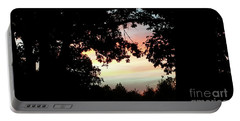 Fall Silhouette Sunset Portable Battery Charger by Donna Brown