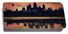 Silhouettes Angkor Wat Cambodia Mixed Media  Portable Battery Charger