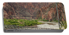 Silver And Black Bridges Over The Colorado, Grand Canyon Portable Battery Charger