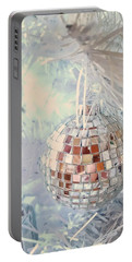 Silver And White Christmas Portable Battery Charger