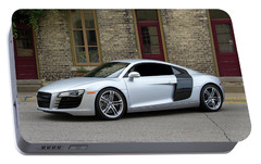 Portable Battery Charger featuring the photograph Silver Audi R8 by Joel Witmeyer