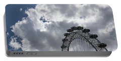 Silver, Blue And White - The London Eye Against Dramatic Sky Portable Battery Charger