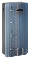 Silver Blue Silo With Steel Ladder. Portable Battery Charger