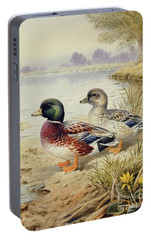 Silver Call Ducks Portable Battery Charger by Carl Donner