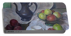 Silver Coffeepot, Apples And Fabric Portable Battery Charger