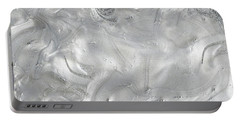 Silver Gray Abstract Minimalist Painting  Portable Battery Charger