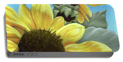 Silver Leaf Sunflower Growing To The Sun Portable Battery Charger