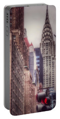 Portable Battery Charger featuring the photograph Silver Majesty - Chrysler Building New York by Miriam Danar
