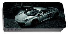 Portable Battery Charger featuring the photograph Silver Mclaren by Joel Witmeyer