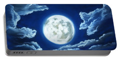 Portable Battery Charger featuring the painting Silver Moon - Sky And Clouds Collection by Anastasiya Malakhova