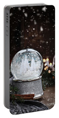 Silver Snow Globe Portable Battery Charger by Stephanie Frey